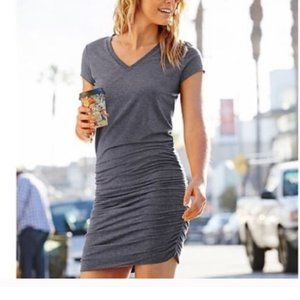 Athleta Topanga Gray Ruched T-Shirt V-Neck Dress S